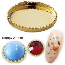 ★Capri 彩石彩鑽底座 圓型 金色4mm(10個裝)