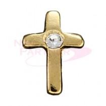 M Petit 原創美甲飾品 小十字架 5個 金*水晶 A140