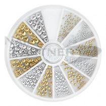 BEAUTY NAILER 鉚釘圓形 金X銀 NAA-43