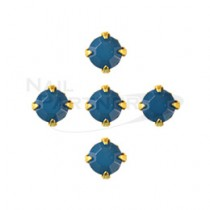 ◆CLOU 美甲珠寶 附台座鑽飾 海藍 4mm (10個)
