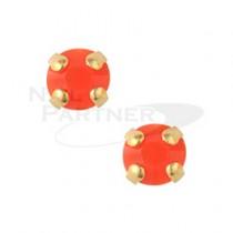 ◆CLOU 美甲珠寶 附台座鑽飾  橘色 3mm (20個)