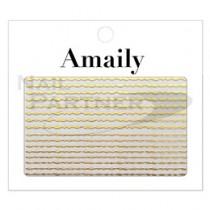 Amaily 金色波浪線條貼紙 5-21