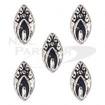 ◆SARURU 美甲飾品 葉型紋章 AC667 黑銀 (5個)