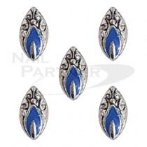 SARURU 美甲飾品 葉型紋章 AC668 藍銀 (5個)
