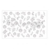 Amaily 彩繪貼紙 3-27 花式花卉 (白)