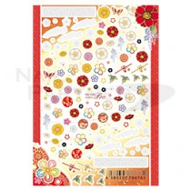 ★Sha-Nail 貼紙 HTD-001(和風花卉-紅)