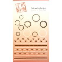 爪飾工房 美甲貼紙1-1 蕾絲(黑╳白)